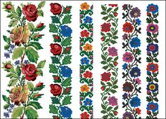 Cross Stitch Rose, Cross Stitch Borders, Cross Stitch Flowers, Cross Stitch Patterns, Folk Embroidery, Cross Stitch Embroidery, Bead Loom Patterns, Loom Beading, Needlework