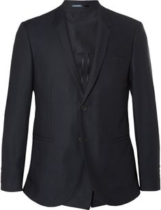 $290, Cos Navy Slim Fit Worsted Wool Suit Jacket. Sold by MR PORTER. Click for more info: https://lookastic.com/men/shop_items/328912/redirect