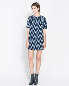 ZARA - WOMAN - RETRO PRINTED DRESS. w/ flat black booties
