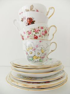 Mixed China Tea Set - vintage Paragon, Royal Stafford, Colclough and Newlyn Bone China #PeonyandThistle