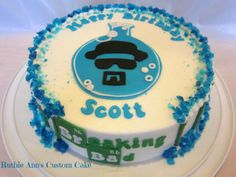 "Breaking Bad - Made this cake for my husband, his favorite show Breaking Bad. BC frosting with fondant accents, blue crystal ""meth"" made from rock candy and blue sugar"