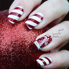 Candy Cane Nails | #christmasnails #nailart #christmasnailart #xmasnails