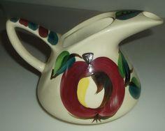 Vintage Purinton Pottery Slipware Quart Ice Lip Water Pitcher, Open Apple, ExC #Purinton