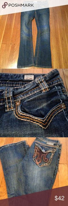 MEK Denim Jeans Bootcut These are a fabulous pair of lightly distressed jeans. Love the pockets. MEK Jeans Boot Cut