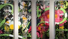 """""""Concrete Jungle"""" - (4) 12"""" x 36"""" panels - oil, spray paint & house paint on canvas. AVAILABLE $1200.  by Nicholas Tindall 2015"""