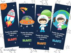 Space Rocket party pdf printable outer space thank you card /