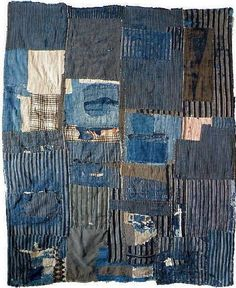 Sweetpea Path: The humble cloths that are Japanese 'boro'. this is the result of living small with consciousness of means. the need to stay warm, the patience to repair, restore and to keep going. and the resulting beauty in that. Sashiko Embroidery, Hand Embroidery Patterns, Textile Texture, Textile Art, Boro, Japanese Patchwork, Sewing Leather, Vintage Quilts, Fabric Panels