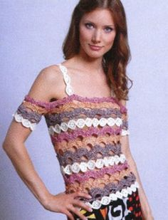 Crafts for summer: lace top for women, free crochet patterns Form Crochet, Thread Crochet, Crochet Patterns, Crochet Woman, Crochet Pullover Pattern, Crochet Blouse, Crochet Skirts, Crochet Clothes, Crochet Tops