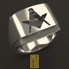 AASR and Master Mason Ring Unique Design for Men with Amethyst Gemstone, 925K Sterling Silver (HMY2015-MMDAGS)