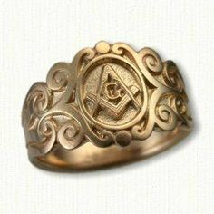 Sculpted & Tapered Masonic Signet Ring #FB07102A Available In All Metals