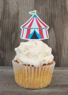 Circus Party - Set of 12 Circus Tent Cupcake Toppers by The Birthday House on Etsy, $6.00