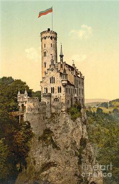 Lichtenstein Castle (Schloss Lichtenstein) is situated on a cliff located near Honau in the Swabian Alb, Baden-Wurttemberg,