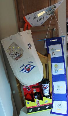 Here are some things I made for the cruise. A duffle bag, Table marker, Fish extenders, Cup carrier and cups.