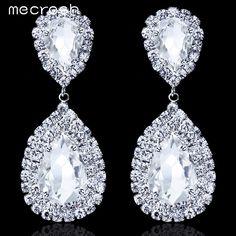 Mecresh 5 Colors Waterdrop Crystal Bridal Earrings Silver Plated Big Rhinestone Earrings Party Wedding Jewelry for Women EH003