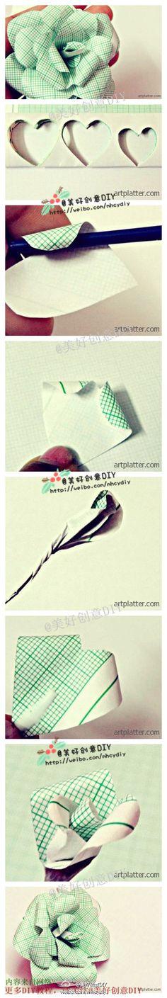 教你做一朵纸玫瑰,喜欢这个颜色