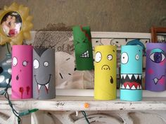 SALE Recycled Cardboard Tube Colorful Cute Painted Monsters