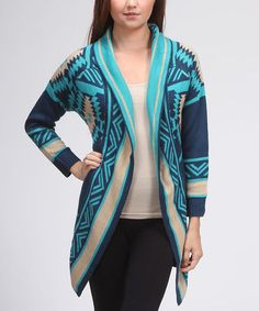 Look what I found on #zulily! Blue & Tan Southwestern Open Cardigan by Trendology #zulilyfinds