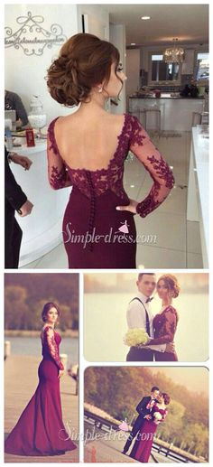 prom dress, 2016 prom dress, burgundy prom dress with long sleeves, graduation…