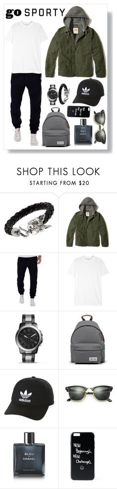 """Men's"" by shaikha-s ❤ liked on Polyvore featuring Manuel Bozzi, Hollister Co., Neil Barrett, FOSSIL, Eastpak, adidas Originals, Ray-Ban, Chanel, men's fashion and menswear"