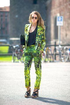 A digital print suit on the street at Milan Fashion Week.