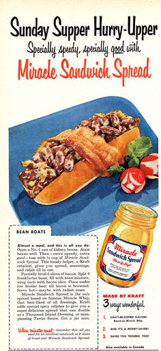 Looks like there there should be a hot dog in this thing under all those beans, but there isn't. Just kidney beans drowned in Miracle Sandwich Spread. Bacon completes the deception. The radish roses pretty it up. Jello Recipes, Old Recipes, Vintage Recipes, Easy Recipes, Gross Food, Weird Food, Vintage Cooking, Vintage Food, Vintage Ads