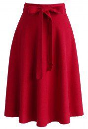 Tie the Warmth Soft Knit Midi Skirt in Red