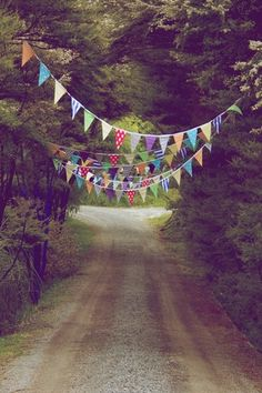 buntings... entrance to the party or on the back deck if weather permits. Love this! (Gotta do this between the palm trees! jen)