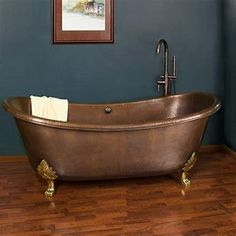 Hadley Hammered Copper Double Slipper Bathtub with Cast Brass Feet Copper Tub, Copper And Brass, Hammered Copper, Bronze, Bathtub Pictures, Brass Bathroom Faucets, Tubs For Sale, Galvanized Tub, Bathroom Inspiration