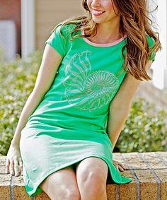 Look at this #zulilyfind! Grass Green Nautilus Amelia T-Shirt Dress #zulilyfinds