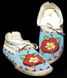 Shoshone Rose Beadwork Mocassins