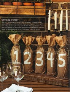 Wine Tasting Party- Have each guest bring two bottles of wine to the party. Using a white paint pen, draw large numbers on the fronts of craft lunch bags and then wrap one from each guest in a bag. As guests arrive, have them taste and vote on their favorite. Whoever brings the preferred wine gets to take home the second wine set. Cin-cin!