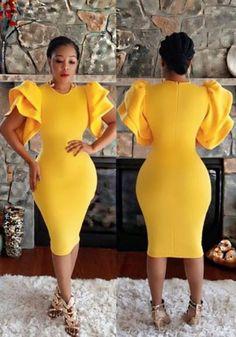 - Available Sizes :S;XXL - Bust(cm) - Waist(cm) - Hip(cm) - Length(cm) - Type :Slim - Material :Dacron - Color :Yellow - Decoration :Ruffle, Zipper - Pattern :Plain - Collar :Collarless - Length Style :Below Knee - Sleeve Length :Short Sleeve Elegant Midi Dresses, Cute Dresses, African Fashion Dresses, African Dress, Yellow Wedding Dress, Yellow Dress, Dress Outfits, Fashion Outfits, Women's Fashion