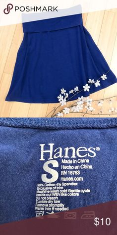 Soft stretchy skirt, S. Dark blue stretchy skirt by Hanes, size small. Gently pre loved condition, simple, classic. Fold over comfort waistband. Elastic waist measures 14 inches and stretches another inch, length is 21 inches. Cute and simple, A closet staple. Hanes Skirts