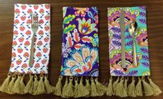 Tasseled napkins made from the Michael Miller's Fiesta collection. Made for Trenna Travis Design Studio by Virginia Smith with Show Me Sewing