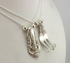 silverware jewelry | ... Equals 2 Forkin Necklaces - Silverware Jewelry - Silverware Necklace