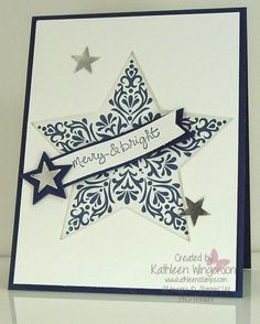 Christmas card made with the Bright & Beautiful stamp set from Stampin Up by Kathleen Wingerson    www.kathleenstamps.com