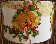 Christmas Lampshade Xmas Decoration Golden Bells Shabby Chic Christmas lights Free Gift