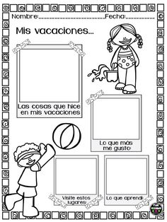 Mis vacaciones Spanish Lesson Plans, Spanish Lessons, Teaching Spanish, First Day Of School Activities, First Day School, Bilingual Classroom, 2nd Grade Classroom, English Activities, Educational Activities