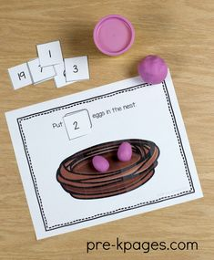 Printable Spring Play Dough Counting Mats for Preschool or Kindergarten Kids. Toddler Activities Daycare, Numeracy Activities, Seasons Activities, Spring Activities, Kindergarten Activities, Classroom Activities, Preschool Lesson Plans, Preschool Themes, Spring School