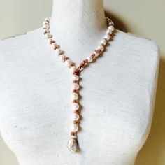 Leather and fresh water pearl adjustable necklace, pearl and leather choker, long leather and fresh water pearl necklace, boho necklace by tulip3jewelry on Etsy