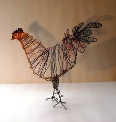 Wire Chicken Sculpture by SlackGirl on Etsy, Chicken Wire Sculpture, Wire Art Sculpture, Metal Sculptures, Abstract Sculpture, Garden Sculpture, 3d Art Projects, Sculpture Projects, Chicken Crafts, Chicken Art