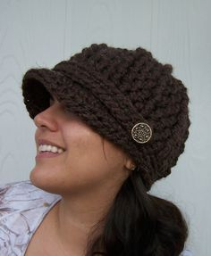 Crochet Brown Newsboy Hat with Buttons