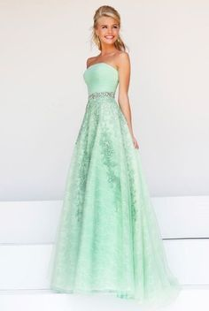 e9e975b916bd Cute A Line Strapless Long Mint Green Tulle Lace Beaded Prom Dress