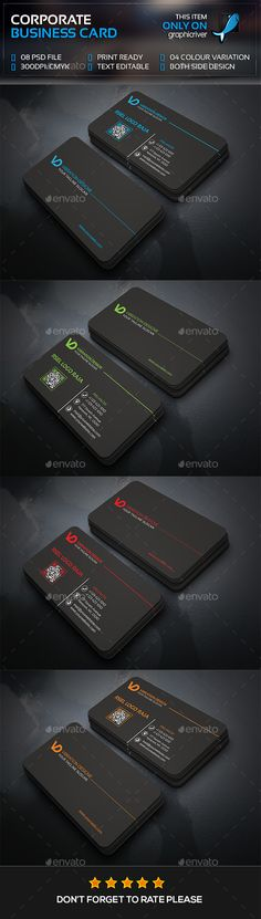 Corporate Business Card Template PSD #visitcard #design Download: http://graphicriver.net/item/corporate-business-card/13429782?ref=ksioks