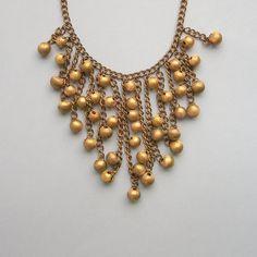 Art Deco long fringe bib necklace  -  1930s - gilt brass