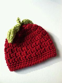 Red Apple crochet hat free pattern