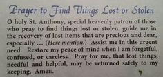 Prayer to Find Things Lost or Stolen- St. Anthony