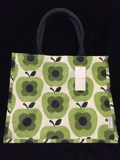 Orla Kiely Apple Abacus Flower Tote Bag Tesco 2016 Shadow White Gift Green Jute #OrlaKiely