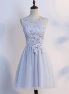 a0baef171e Simple Tulle and Lace Short Prom Dresses