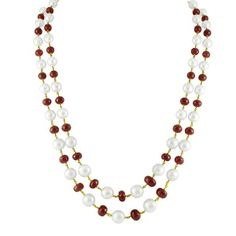 The 2 lines Ruby and South Sea Pearl Gold Chain  #gold #chain #pearls #ruby #fashion